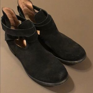 Pair of black suede shoe boots